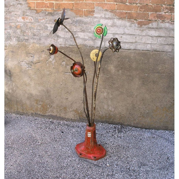 "34"" tall upcycled flower stake garden yard art - PaulaArt"