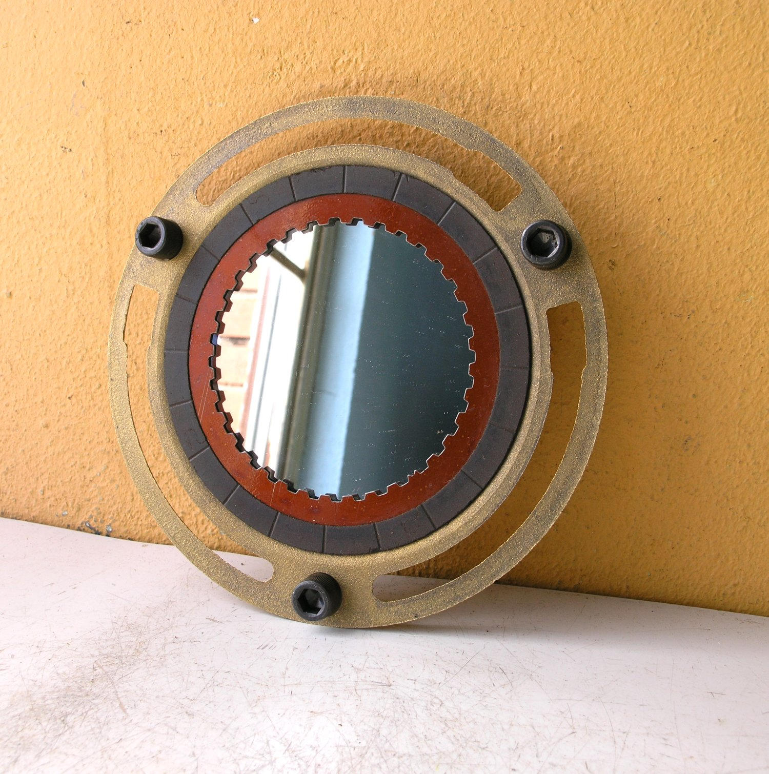 Black orange & brass industrial wall mirror - PaulaArt