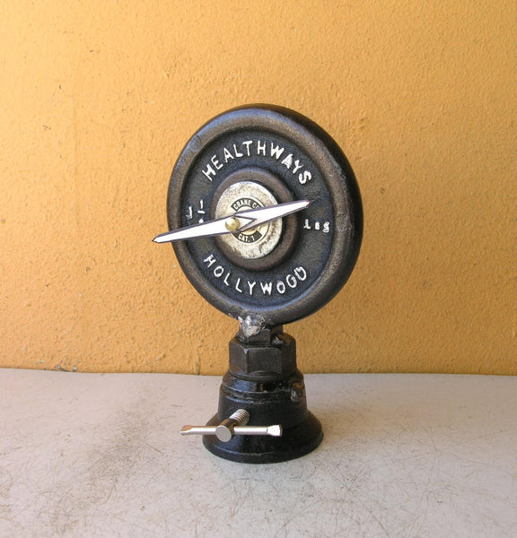 Upcycled Desk Clock, Barbell Weight Plate - PaulaArt