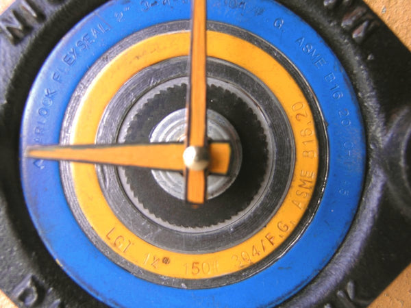 Blue yellow & black industrial wall clock made from salvaged junk metal. - PaulaArt