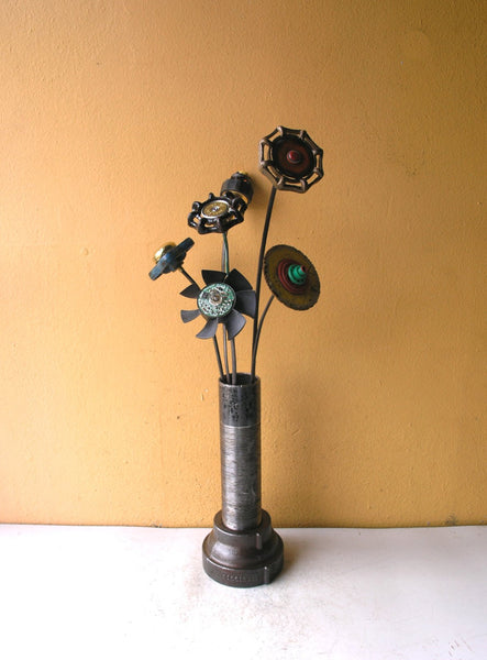 "17"" tall handmade upcycled black & yellow button junk flower - PaulaArt"