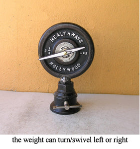 Upcycled Desk Clock, Barbell Weight Plate