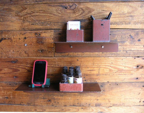 pair of industrial metal floating shelves for wall