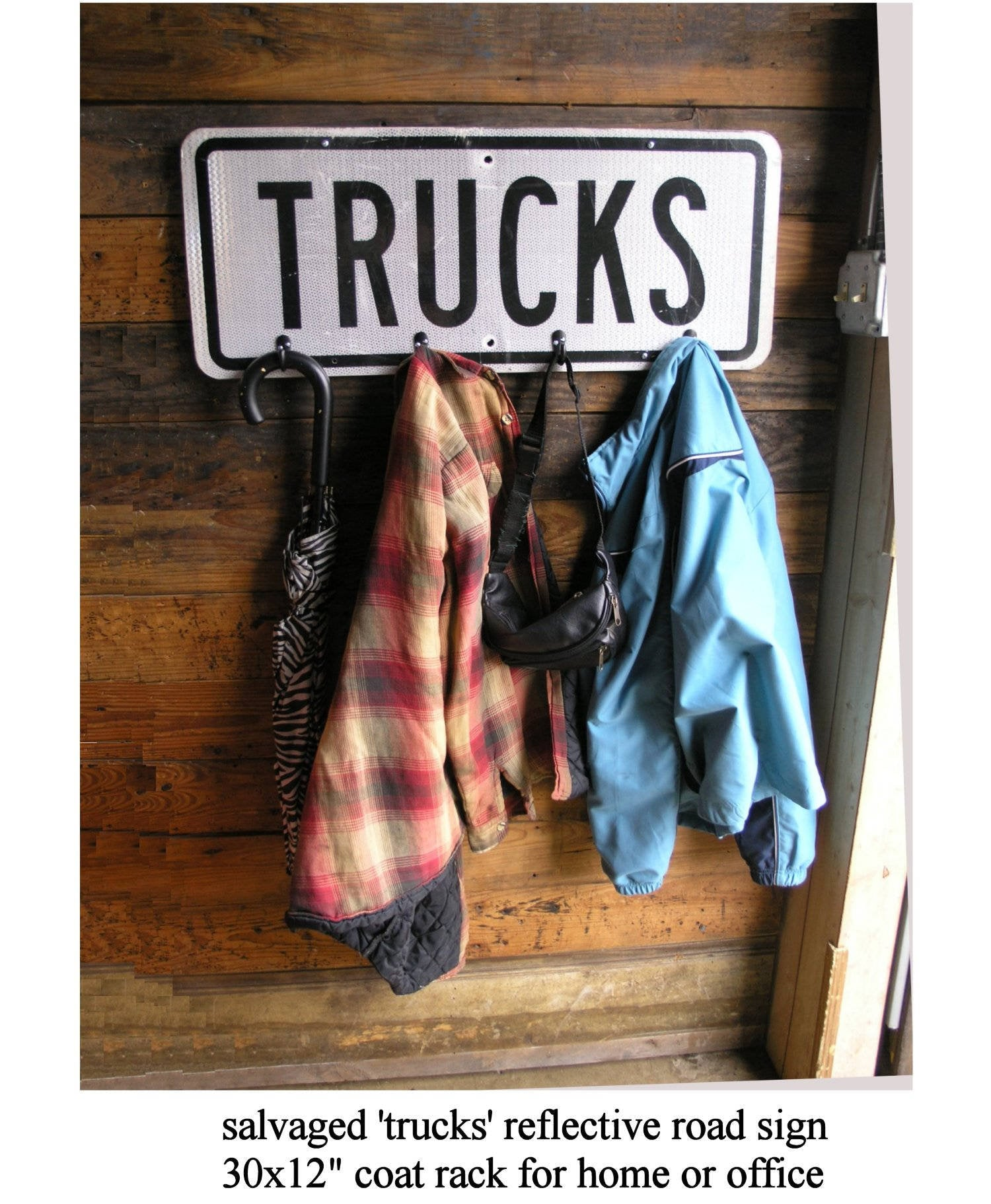 upcycled trucks street sign, wall mount coat rack, manly gift idea