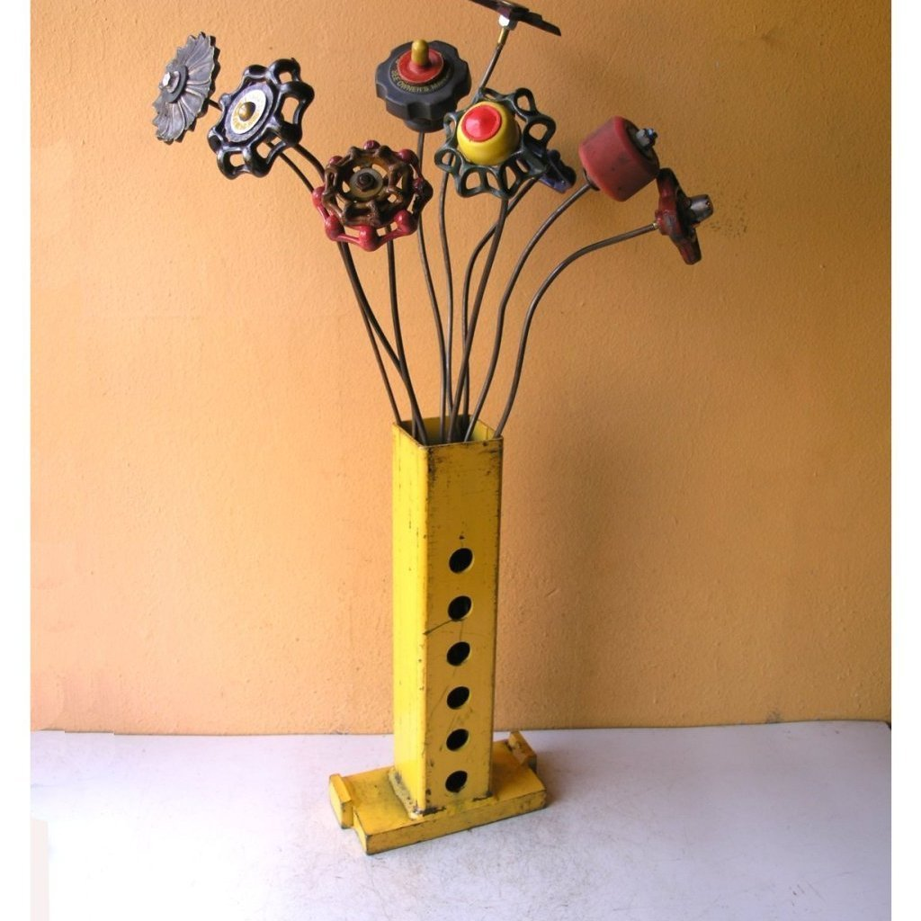Tall square upcycled yellow metal flower vase for home and office - PaulaArt