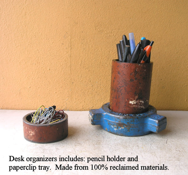 Industrial pencil holder w/ mini hidden catchall tray - PaulaArt