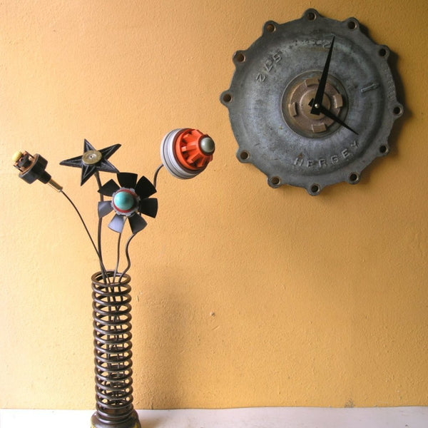 Large steampunk brass meter cover wall clock - PaulaArt