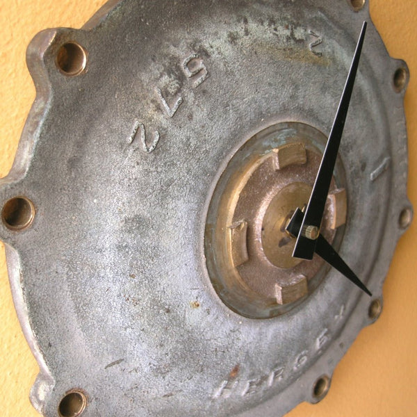 Brass meter cover wall clock
