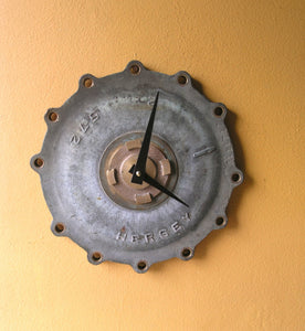 upcycled brass meter cover wall clock, steampunk wall decor