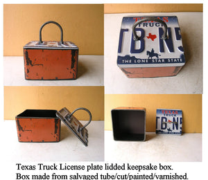 Industrial keepsake box, square orange metal lid Texas license plate, desktop storage - PaulaArt