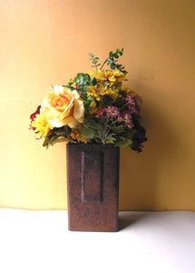 rectangular metal flower vase, industrial accessory for home or office table and counter top centerpiece
