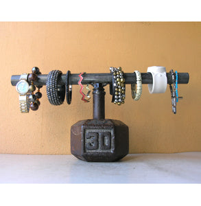 industrial bracelet rack from upcycled dumbbell