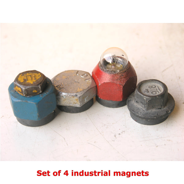 Set of metal magnets for kitchen or office magnetic boards:  blue, red, silver, gray & yellow upcycled metal - PaulaArt