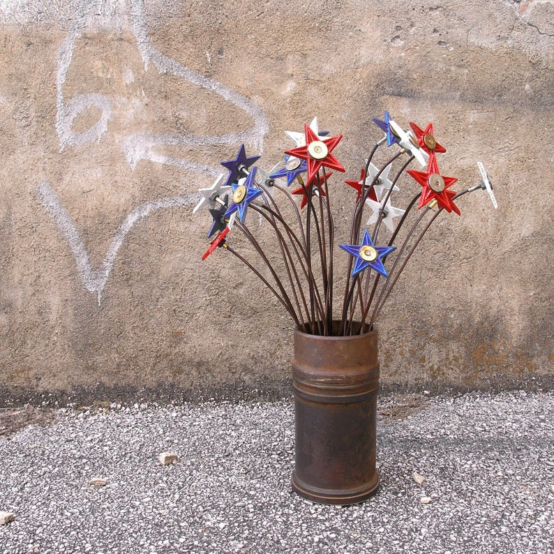 Reserved bundle of 24 red white & blue cast iron flowers - PaulaArt