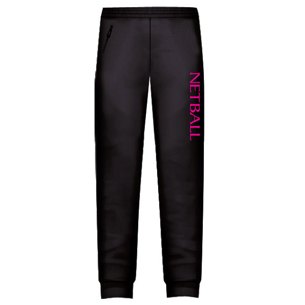 Netball Trackies Unisex - Black with Pink Text