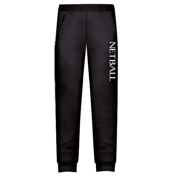 Netball Trackies Unisex - Black with White Text