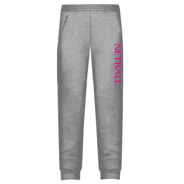 Netball Trackies Unisex - Grey Marle with Pink Text