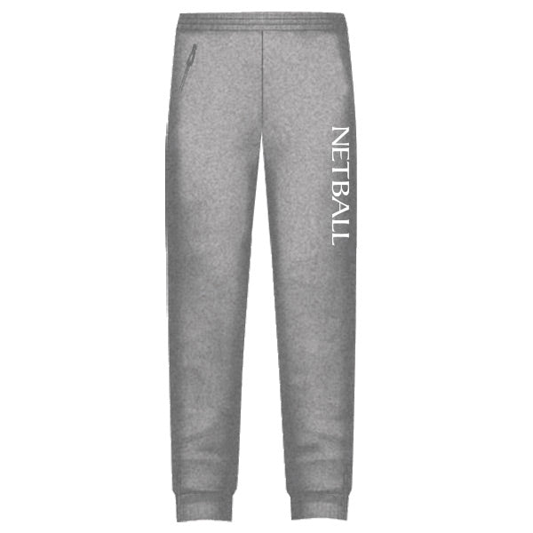 Netball Trackies Unisex - Grey Marle with White Text