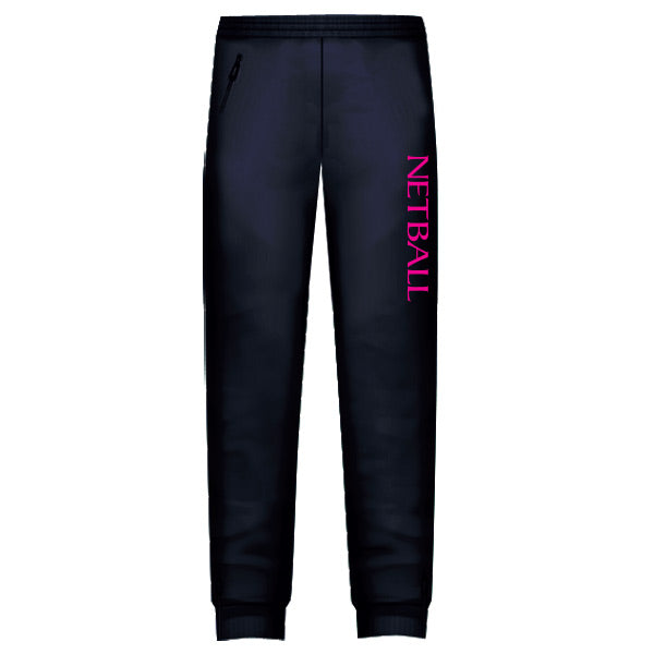 Netball Trackies Unisex - Navy with Pink Text