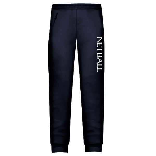 Netball Trackies Unisex - Navy with White Text