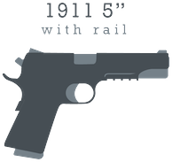 "Gray 1911 5"" with rail logo"