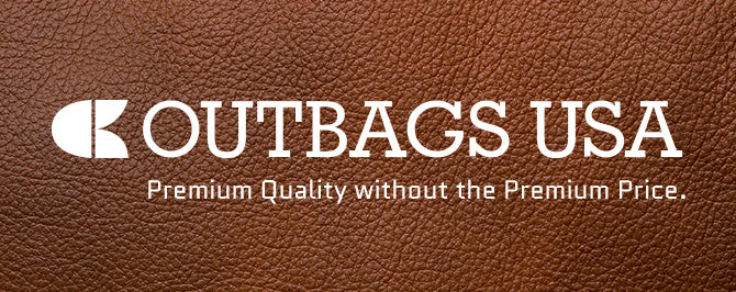 White Outbags, USA logo over brown leather