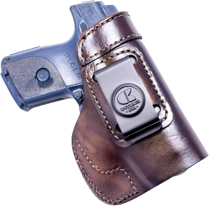 Brown leather holster with gun