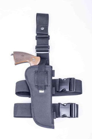 "NTAC10 · Premium Nylon Thigh Holster with Ammo Loops · For most 6"" 6-shot revolvers"