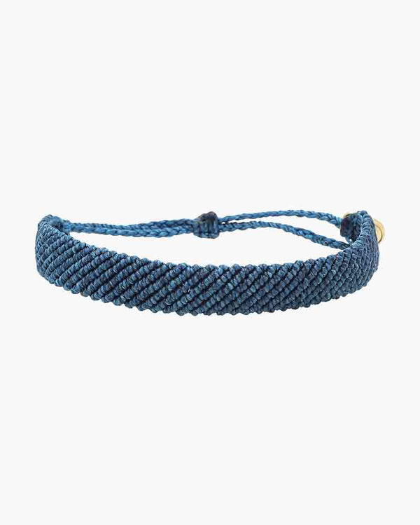 Flat Braided Bracelet - Blue
