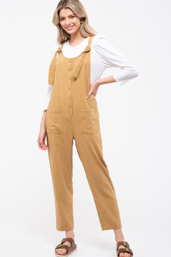 Pinstriped Overall Jumpsuit
