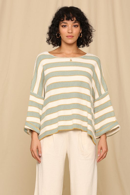 Wide Arm Horizontal Knitted Stripe Pullover Sweater Sage Multi