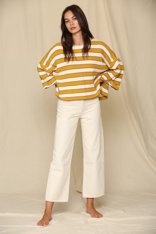 Wide Arm Horizontal Knitted Stripe Pullover Sweater Gold Multi