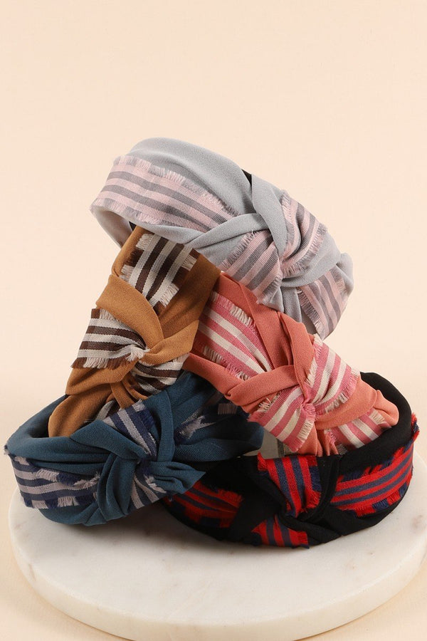 Knotted Plaid Head Band