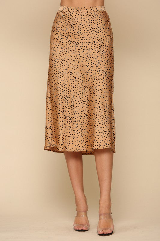 Animal Print Woven Satin Midi Skirt