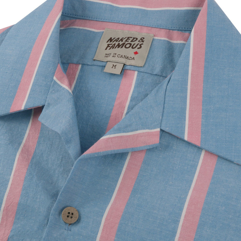 FINAL SALE Camp Collar Shirt - Chambray Slub Stripe