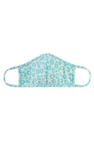 Kid's Mint Leopard Print Face Mask