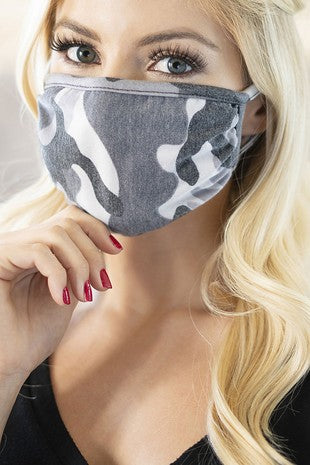Grey Camouflaged Face Mask