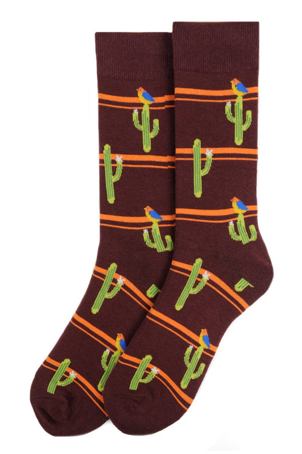 Men's Brown Cactus Socks