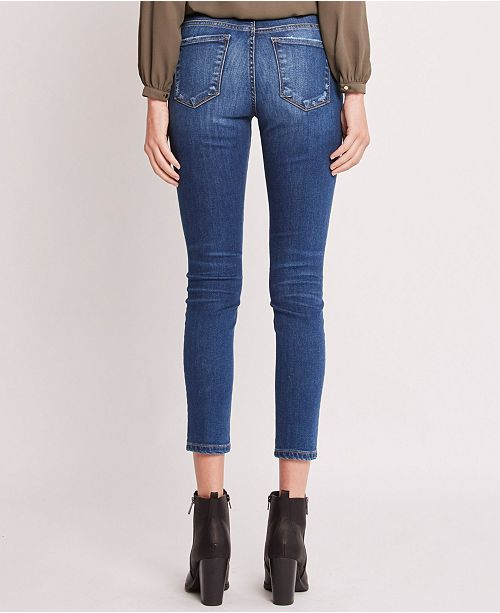 Mid Rise 3D Front and Back Whiskers Crop Skinny