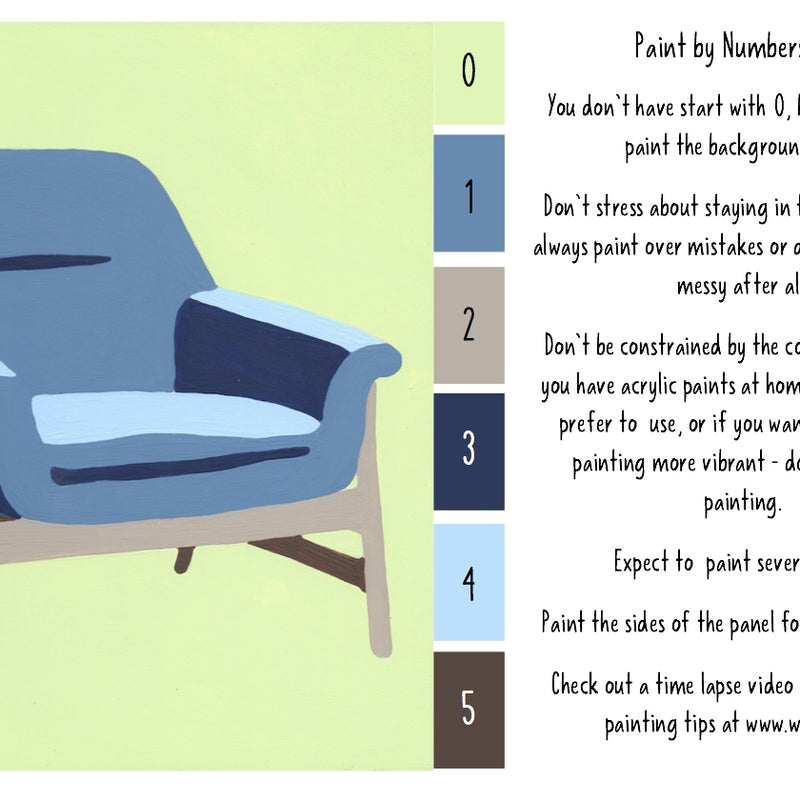 FINAL SALE Mod Chair - 6 Color Paint by Number Kit