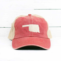 Basic Oklahoma Shape Broken-In Mesh Trucker Snapback