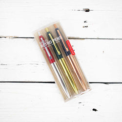 Retro Pen Metallic Set Of 3
