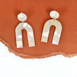 Nude Terrazzo Arc Earrings