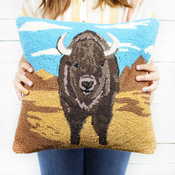 Desert Buffalo Hook Pillow 16x16
