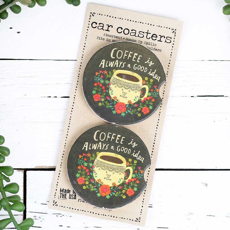 "Car Coaster Set of 2 ""Coffee Good"""