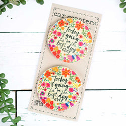 "Car Coaster Set of 2 ""Good Day"""