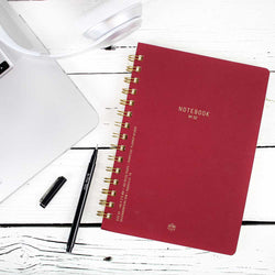 Textured Paper Twin Wire Notebook Medium - Burgundy