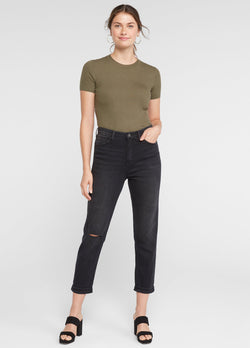 FINAL SALE-Cuffed Comfort Mom Jean