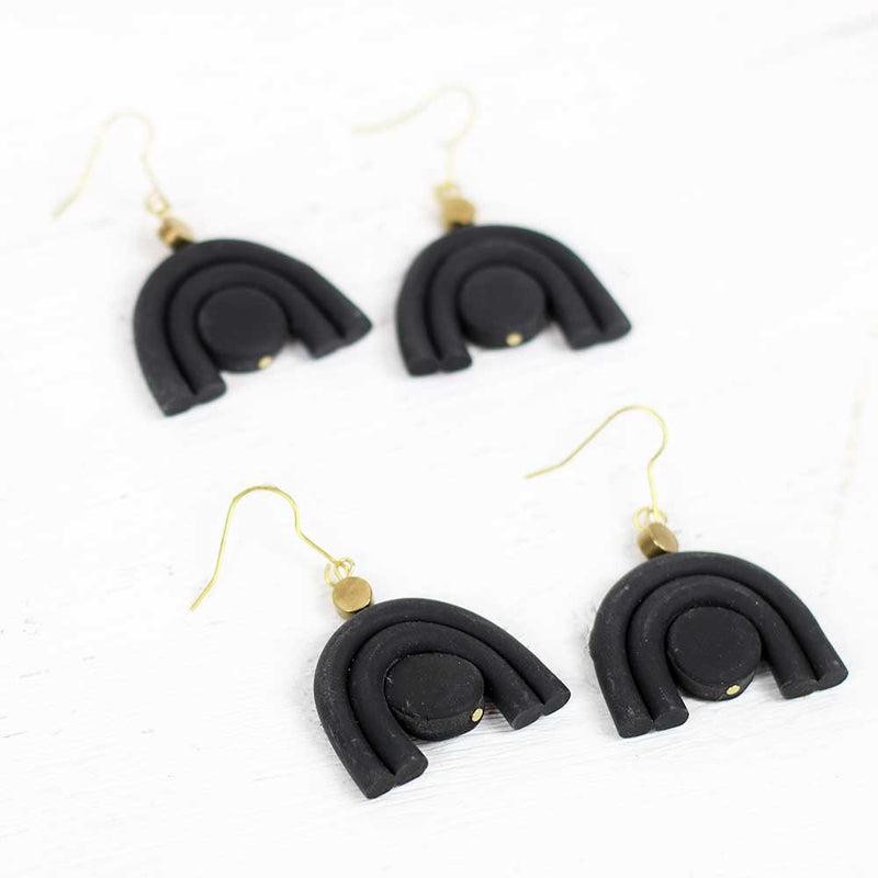 Black Mini Double Arc Earrings