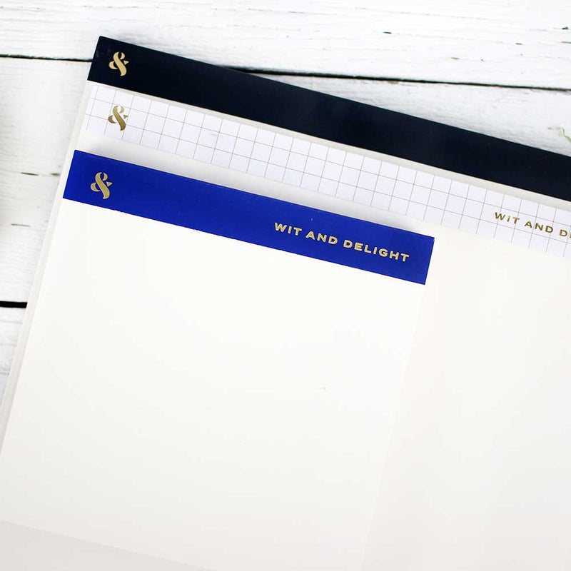 Desktop Notepad Set - Black/Grid/Blue